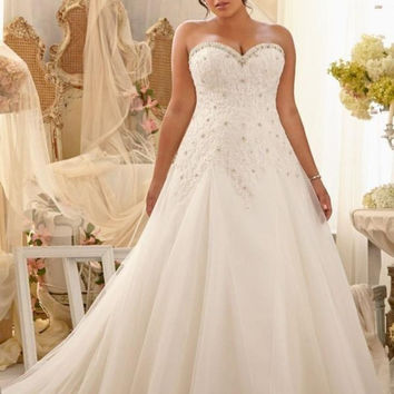 In Stock Applique Lace And Tulle Bandage Plus Size Wedding Dresses Beading Bridal Dresses vestido de noiva Ready To Ship