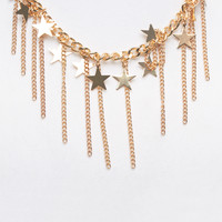 Star Charm Fringe Necklace | Wet Seal