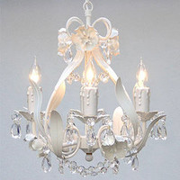 Mini 4-light White Floral Crystal Chandelier | Overstock.com