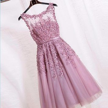 New Elegant Prom Dress A-line Pink Lace Short Sheer Back Homecoming Dress Formal Graduation Gown Tulle 2016 Summer Style SA682