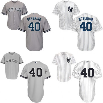 White grey Luis Severino Authentic Player Jersey , Men's #40 New York Yankees 2016 New Cool Base