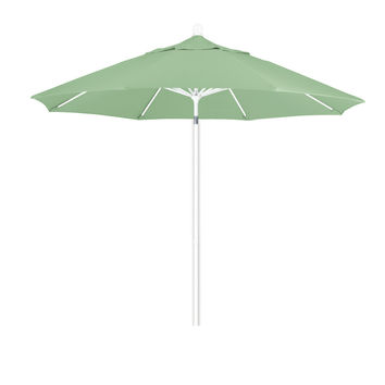 9 Foot Pacifica Fabric Aluminum Pulley Lift Patio Patio Umbrella with White Pole, 20 Colors