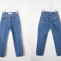 1980s GUESS Jeans / High Waisted Jeans / Vintage 90s Jeans / Dark Denim Skinny Jeans / Vintage 80s Jeans / Tight Jeans / Dark Blue Denim