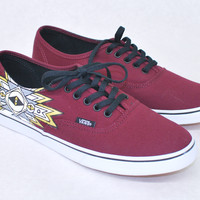 Custom Tawny Port/True White Vans Authentic Lo Pro - Gold, White, Grey Black Tribal print