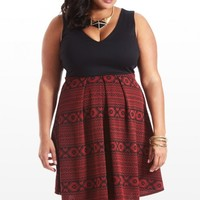 Plus Size Build My Empire Aztec Flare Dress | Fashion To Figure