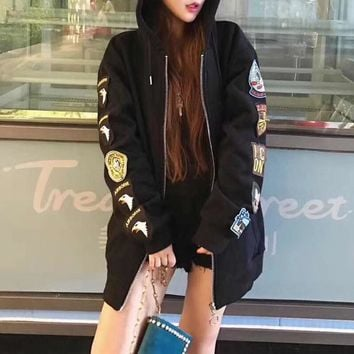 """OFF-WHITE"" Women Fashion Casual Back Print Badge Embroidery Zip Cardigan Long Sleeve Hooded Sweater Coat"
