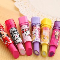 Eraser material escolar rubber Kid Child Gift lipstick erasers school supplies stationery 1 PC cartoon cute lipstick rubber