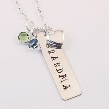 Grandmother, Grandma Birthstone Charm Necklace with Sterling Silver Heart Charm and up to Four Swarovski Crystal Birthstones