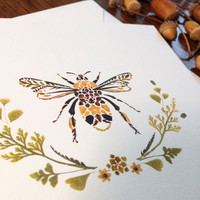 Illustrated Greetings Card Buff-Tailed by HelenAhpornsiri on Etsy