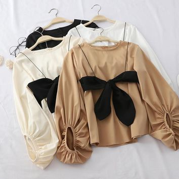 Lantern Sleeve with Bow Blouse