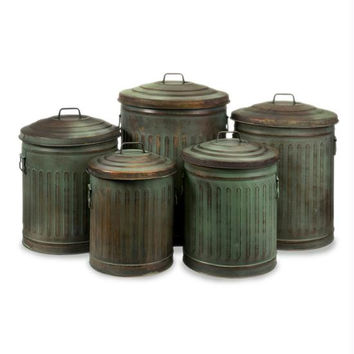 5 Decorative Storage Cans - Antique Weathered Look