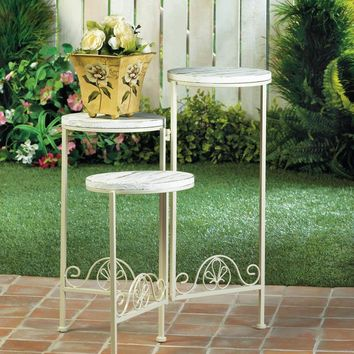 Flower Plant Stand-Wrought Iron White Distressed 3 Tier  Wood Top