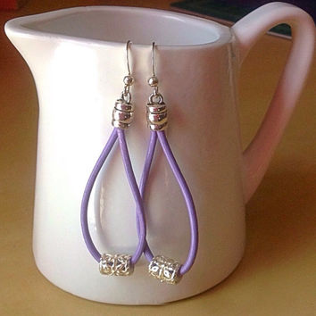 Purple or Teal Leather Awareness Earrings-Epilepsy-Lupus-Alzheimers-Cancers