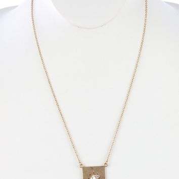 Sliver Matte Finish Metal Layered Chevron Pendant Necklace
