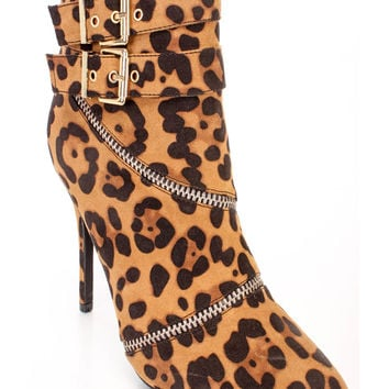 Leopard Strappy Single Sole Ankle Booties Faux Suede
