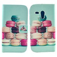 Colorful Macarons cakes Pattern Card Slot Magnetic Flip Stand TPU+ PU Leather Case for Motorola XT1032 XT1031 Moto G