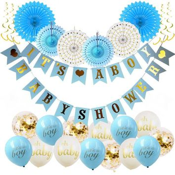 BOY'S BABY SHOWER Decorations Set-It's A Boy Banner, Baby Blue Shower Party Kit, Blue Party Fans, Baby Boy Shower Party, Baby Shower Balloon