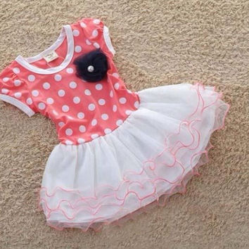Baby Girls Dress cute Dot short sleeve 2 colors Dot dress