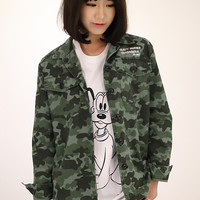 Camouflage Green Long Sleeve Jacket with Buttons