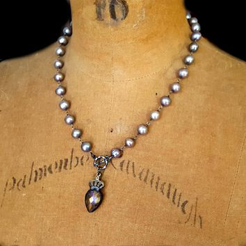 Lavender Gray Pearl Oxidized Silver Rosary Chain Crystal Crown Pendant Necklace