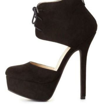 Lace-Up Ankle Cuff Platform Heels by Charlotte Russe