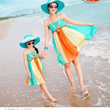 Mommy And Me Women's Fashion Bohemian Beach Dress For Mom