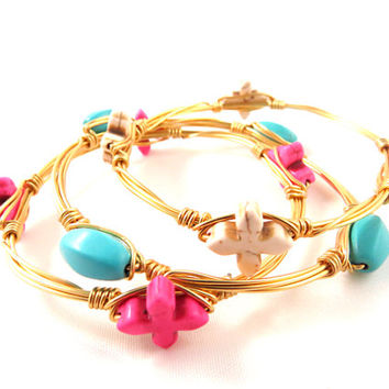 Cross and Oval Turquoise Stones Bangle Set