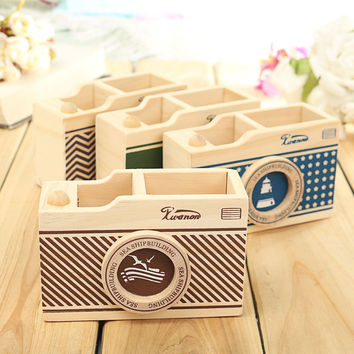 New Vintage Desk Pen Pencil Pot Holder Case Boxes Organizer Ocean Winds Camera Pattern Sundries Storage Box Home Office Gift