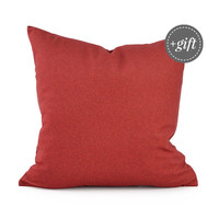 Red Pillow Cover, Red Decor, Christmas Pillow Cover. Red Throw Pillow, Christmas Throw Pillow, Faux Denim Pillow Cover. Red Velvet Pillow