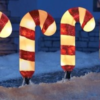Set of 4 Lighted Candy Cane Garden Pathway Lights Yard Outdoor Christmas Stakes Holiday Decor