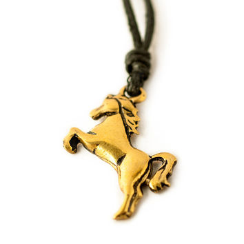Year of the Horse Chinese Zodiac Handmade Brass Necklace Pendant Jewelry