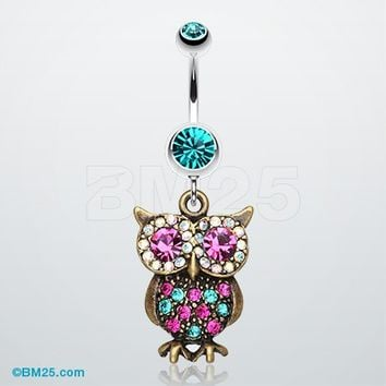 Bronze Owl Sparkle Belly Ring