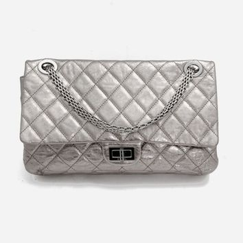 CHANEL Reissue 227 2008-2009 Metallic Silver Quilted Leather Shoulder Bag Purse
