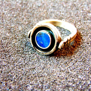 Beautiful men's silver and lapis ring-Unusual gemstone silver ring- Rotating silver ring-Silver statement ring-Lapis lazuli ring-Greek art