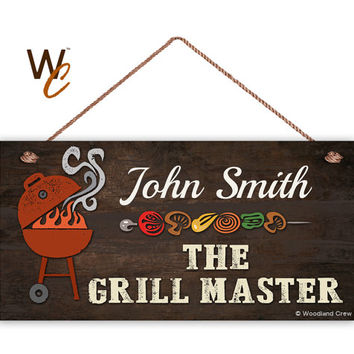 "The Grill Master Sign, BBQ Personalized Sign, Custom Name Change, Fun & Unique Gift, Gift For Him, Weatherproof 5"" x 10"" Sign, Made To Order"
