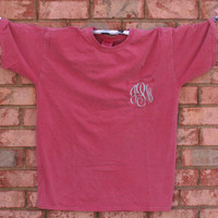 Monogram Comfort Colors Pocket Tshirt