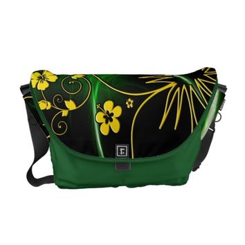 Cool Floral Green Yellow Abstract Neon Glowing Courier Bag