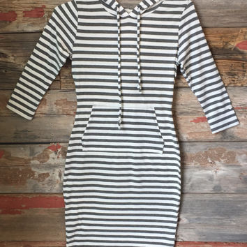 Striped Hooded Dress: Grey
