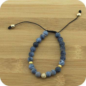 Matte Black Fire Agate Yoga Beads Bracelet with Gold Crystal Pave