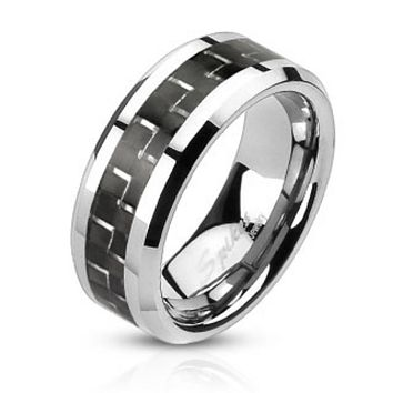 Black Carbon Fiber Inlay Band Ring Stainless Steel