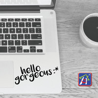Macbook decal Hello gorgeous :* - Apple decal Macbook pro - Inspirational Laptop decal - Stickers for pro/air/ipad MacBook ipad decal