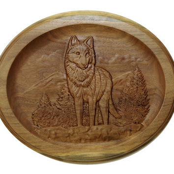 Engraved Wolf Wall Hanging