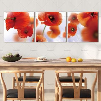 canvas painting Wall Art modular picture Home decor 3Pcs/Set Modern Flower Wall Abstract Flower Poppies Print on Canvas