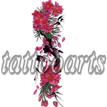 Sexy hot pink flower design full arm sleeve temporary tattoo calf shin leg body art sticker non toxic #10527