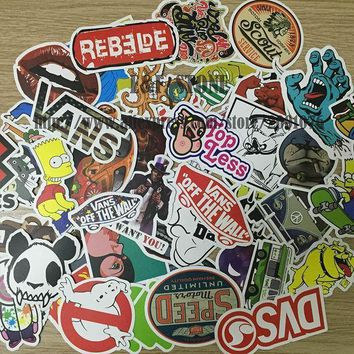 MDIGON1O Day First TD ZW 100pcs/pack DIY Waterproof Funny Laptop Car Sticker For Trunk Skateboard Guitar Gridge Decal Random Mixed Toy S