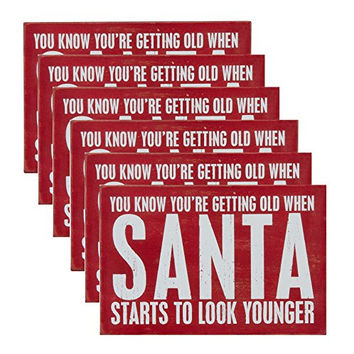 You Know You're Getting Old When Santa Starts To Look Younger - Set of 6 Wooden Christmas Holiday Seasons Greetings Postcards