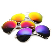 Large Premium Metal Mirrored Lens Aviator Sunglasses 1374 [3 Pack]