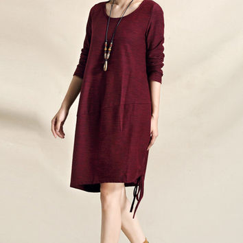 Dark red long sleeved cotton vintage knitted dress (ESR129)