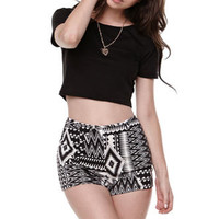 Nollie High Rise Ponte Tribal Shorts at PacSun.com