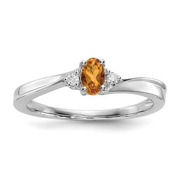 Sterling Silver Genuine Oval Citrine & Diamond November Birthstone Ring